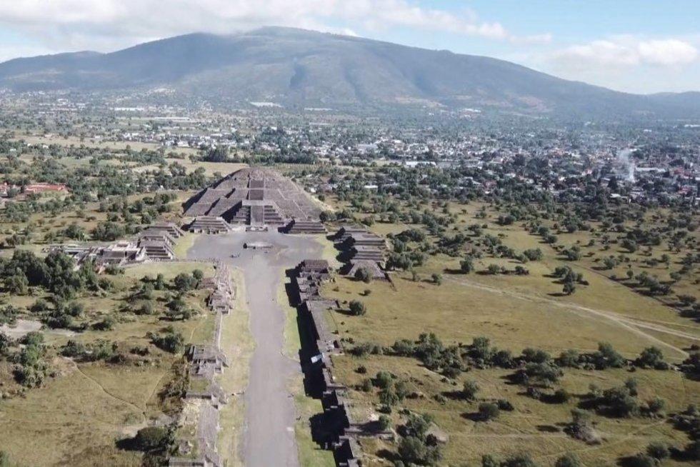 Meksikoje turistams ir vėl atvertas įspūdingasis Teotihuakano miestas (nuotr. stop kadras)