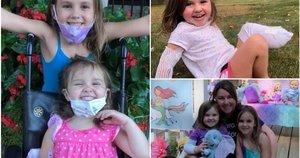 Moteris pasidalino savo skausmu – jos trimetė dukra neteko kojos, bėgdama paskui vairuojamą žoliapjovę paskui savo šešiametę sesę (Nuotr. Gofundme)