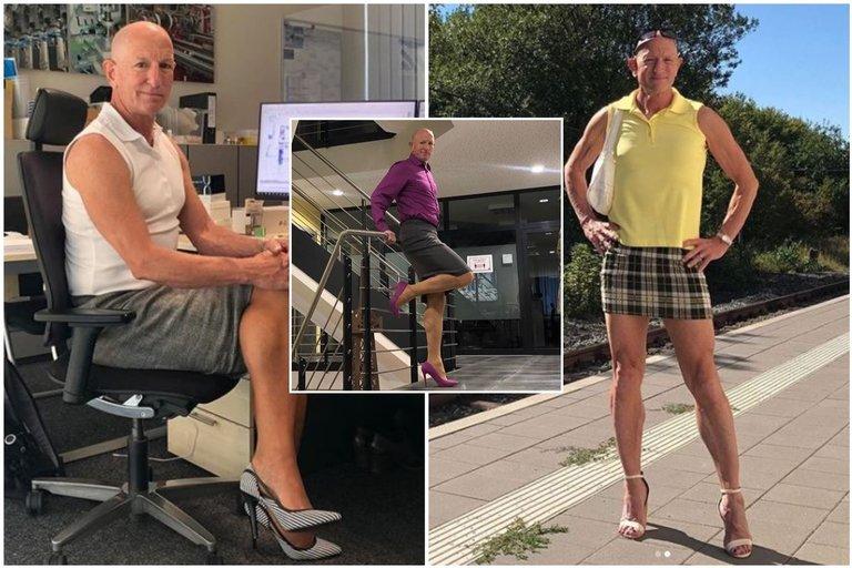 Markas Bryanas, Vokietijoje gyvenantis amerikietis, išdidžiai segasi aptemptus sijonus ir apsiavęs aukštakulniais eina į darbą (nuotr. Instagram)